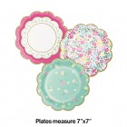 Floral Tea Party Scalloped Lunch Plates