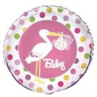 Baby Girl Stork Foil Balloon