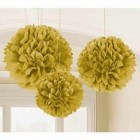 Fluffy Hanging Decorations - Gold