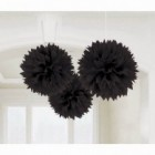 Fluffy Hanging Decorations - Black Poms