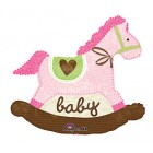 Pink Baby Rocking Horse Foil Balloon