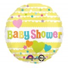 Baby shower yellow with hearts foil balloon