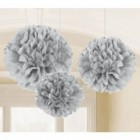Fluffy Hanging Decorations - Silver