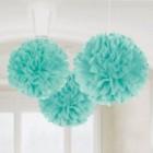 Fluffy Hanging Decorations - Robin's Egg Blue Poms