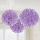 Fluffy Hanging Decorations - Lilac Poms