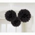 Fluffy Hanging Decorations - Black Poms