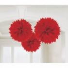 Fluffy Hanging Decorations - Apple Red Poms