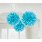Fluffy Hanging Decorations - Caribbean Blue
