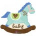 Blue Baby Rocking Horse Foil Balloon
