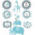 Baby Safari Blue Cutout Decorations Pack