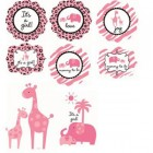 Baby Safari Pink Cutout Decorations