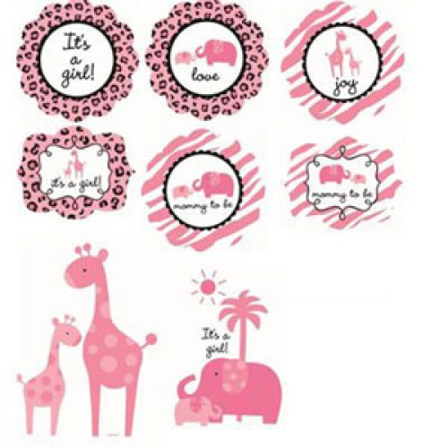 Baby safari pink cutout decorations for Baby shower decoration cutouts