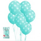 6 Pack Teal Blue Polka Dot Balloons