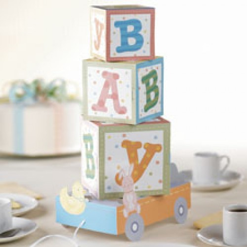 Wilton pull toy tablecentre for Alphabet blocks cake decoration