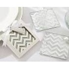 Shimmer and Shine Silver Chevron Glass Coasters