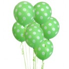 6 Pack Green Polka Dot Balloons