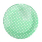 Green Dotty Plates Round