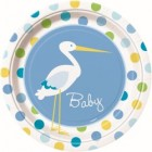 Baby Boy Stork - Lunch Plates