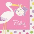 Baby Girl Stork Lunch Napkins