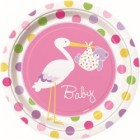 Baby Girl Stork Lunch Plates