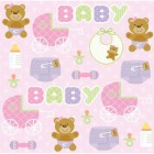 Teddy Bear Pink Beverage Napkins