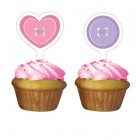 Cute As A Button Girl Cupcake Toppers