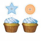 Cute As A Button Boy Cupcake Toppers