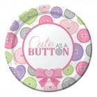 Cute As A Button Girl Dessert Plate