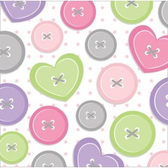 Cute As A Button Girl Beverage Napkins