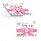 Cute As A Button Girl Invitations