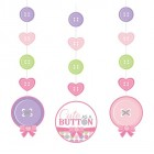 Cute As A Button Girl Hanging Cutouts