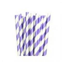 Traditional Paper Straws Lavender Barber Stripe