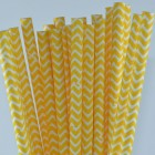 Traditional Paper Straws - Yellow Chevron