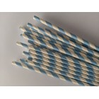 Traditional Paper Straws Blue Barber Stripe 20 Pack