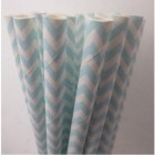 Traditional Paper Straws Blue Chevron