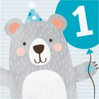 Bear Lunch Napkin '1st Birthday'