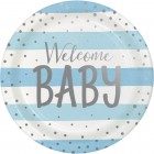Blue Silver Celebration 'Welcome Baby' Dinner Plates