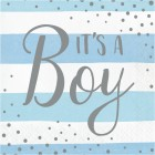 Blue Silver Celebration 'It's a Boy' Lunch Napkins