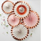 Rose Gold Foiled Floral Fan Decorations - Ditsy Floral