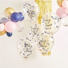 Gold, Pink & Navy Confetti Baby Shower Balloons