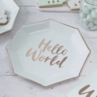 Hello World Mint and Rose Gold Paper Plates