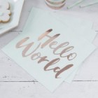 Hello World Mint and Rose Gold Napkins