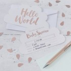 Hello World Rose Gold Baby Shower Invitations