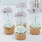 Hello World Rose Gold and Cloud Cupcake Toppers