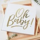 Gold Foiled 'Oh Baby!' Baby Shower Guestbook