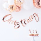 Twinkle Twinkle Rose Gold Christening Bunting